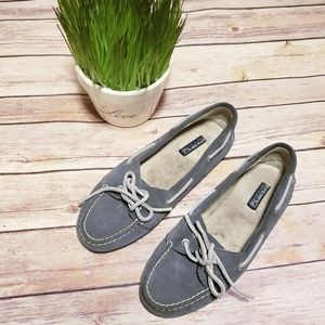 Sperry top sider gray leather loafer shoes 9295072